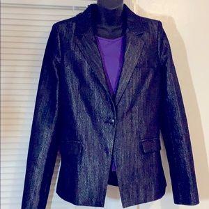Talula Aritzia Indigo silver single button blazer